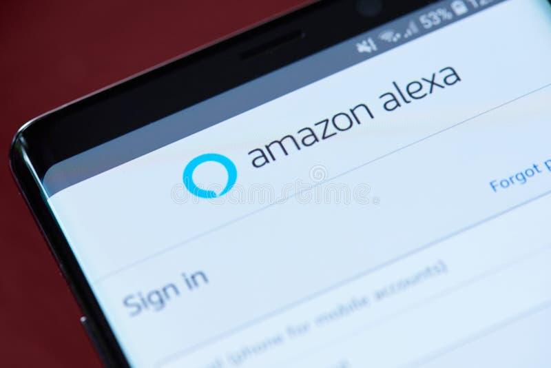 Amazon alexa app menu. New york, USA - November 1, 2018: Amazon alexa app menu on smartphone screen close up view stock photos