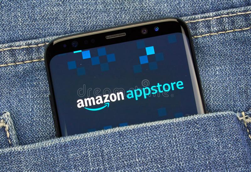 Amazon Appstore mobile app on Samsung s8. MONTREAL, CANADA - December 23, 2018: Amazon Appstore android app on Samsung s8 screen. Amazon Appstore is an royalty free stock photography