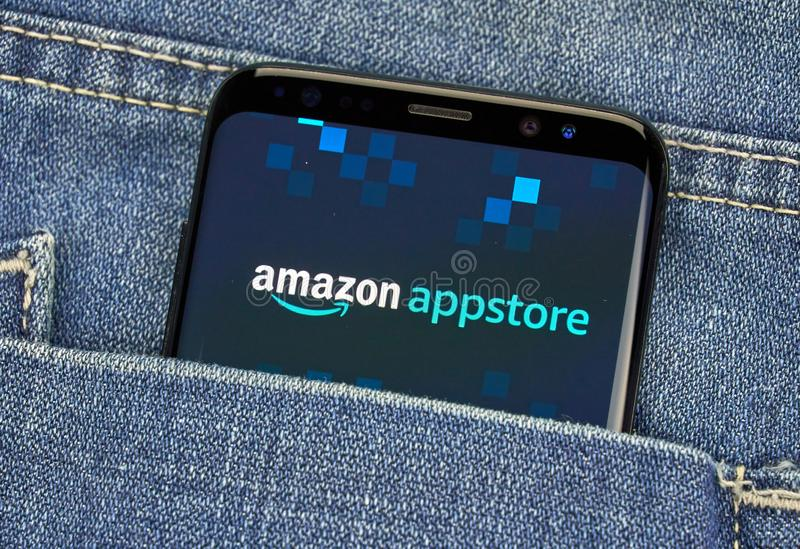 Amazon Appstore mobile app on Samsung s8. MONTREAL, CANADA - December 23, 2018: Amazon Appstore android app on Samsung s8 screen. Amazon Appstore is an stock photo