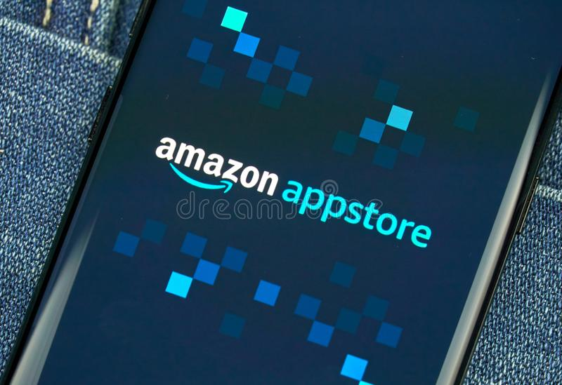 Amazon Appstore mobile app on Samsung s8. MONTREAL, CANADA - December 23, 2018: Amazon Appstore android app on Samsung s8 screen. Amazon Appstore is an royalty free stock photos