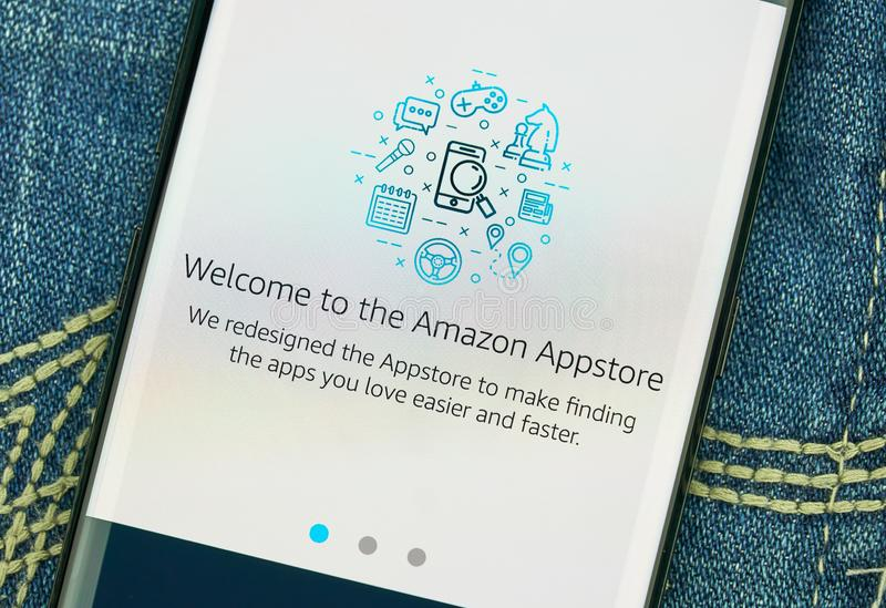 Amazon Appstore mobile app on Samsung s8. MONTREAL, CANADA - December 23, 2018: Amazon Appstore android app on Samsung s8 screen. Amazon Appstore is an stock images