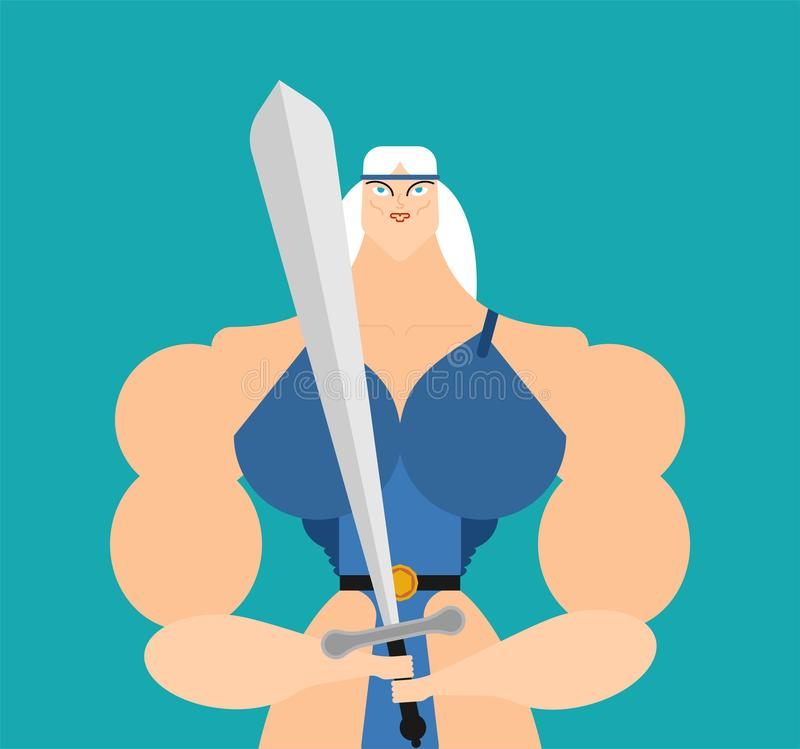 Amazon female isolated. Woman Warrior. Vector illustration stock illustration