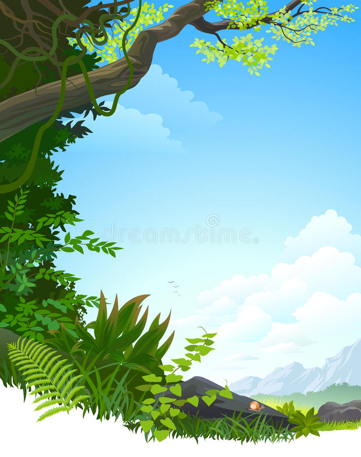 AMAZON JUNGLE TREES AND HILLS vector illustration