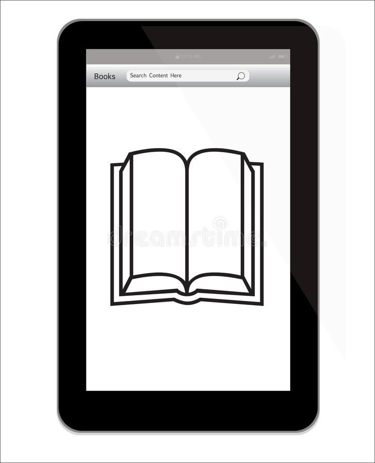 Amazon Kindle Fire tablet with book illustration vector illustration
