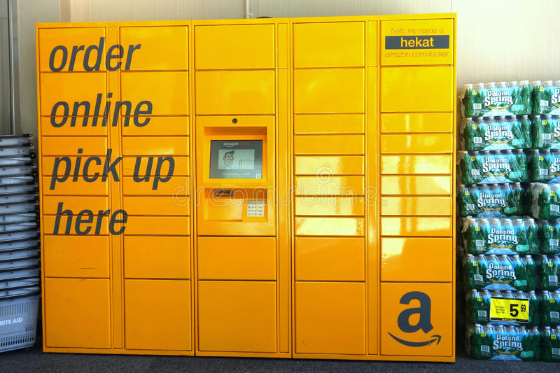 Amazon Locker. An Amazon locker at a drugstore in Manhattan. Amazon Lockers are self-service kiosks that Amazon.com places in high-density areas stock image