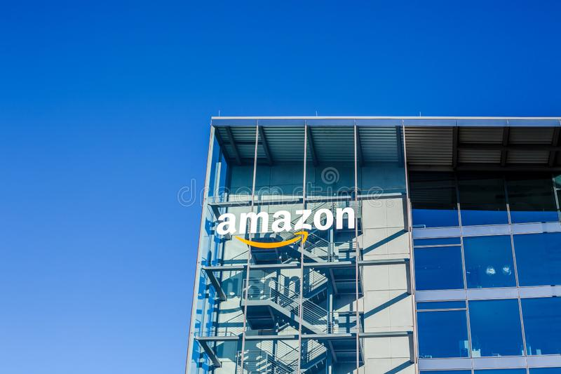 Amazon logo at office building, Munich Germany stock image