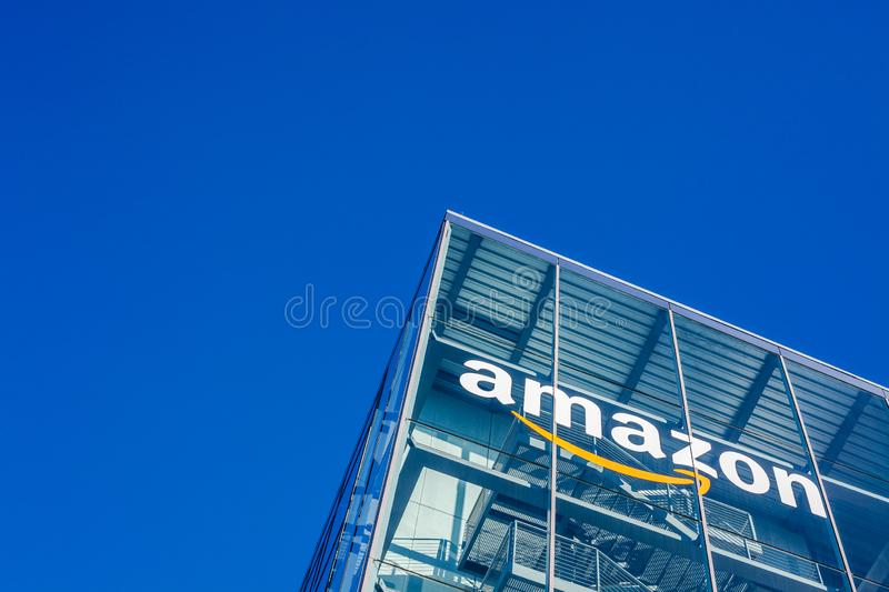 Amazon logo at office building, Munich Germany stock photos