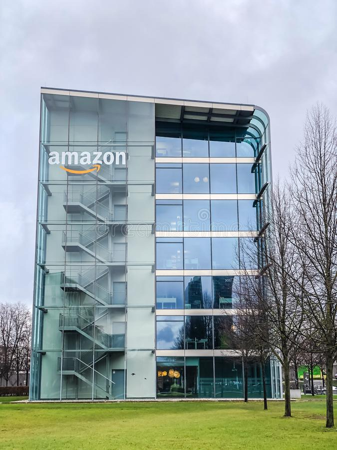 Amazon logo at office building, Munich Germany. MUNICH, GERMANY - DECEMBER 24, 2018: Amazon logo at the company office building located in Munich, Germany stock photo