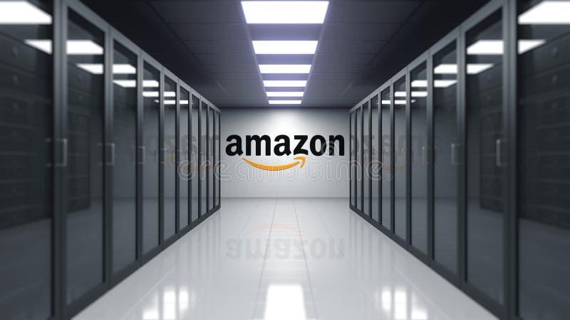 amazon logotipo de COM en la pared del cuarto del servidor Representación editorial 3D stock de ilustración