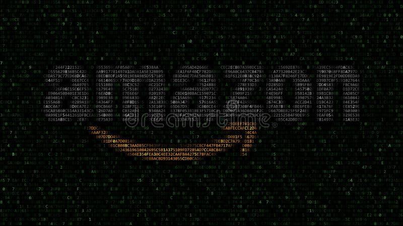 amazon logotipo de COM hecho de símbolos hexadecimales en la pantalla de ordenador Representación editorial 3D ilustración del vector