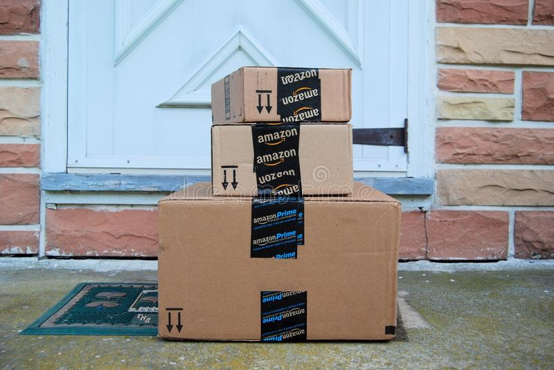 Amazon packages. Sitting on a front porch