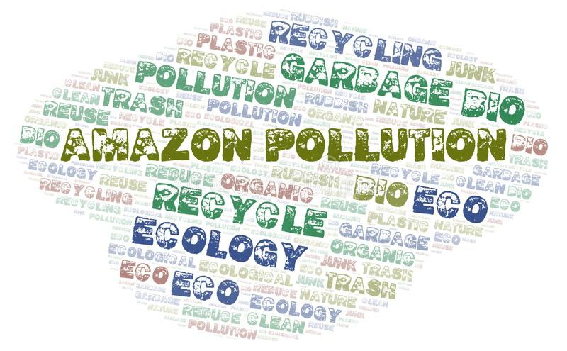 Amazon Pollution word cloud. Wordcloud made with text only stock image