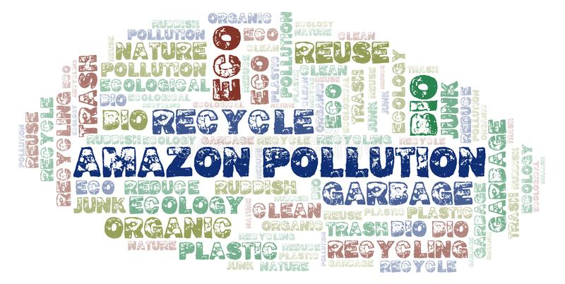 Amazon Pollution word cloud. Wordcloud made with text only royalty free stock photography