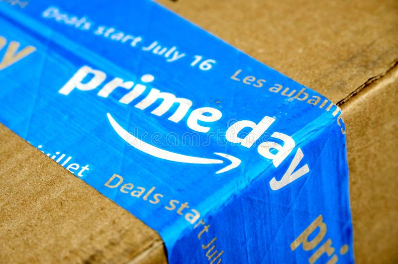 Amazon Prime Day box. MONTREAL, CANADA - MAY 10, 2019 : Amazon Prime Day cardboard box with Prime Day logo and tape on it. Amazon Prime Day is the retailer's big stock image