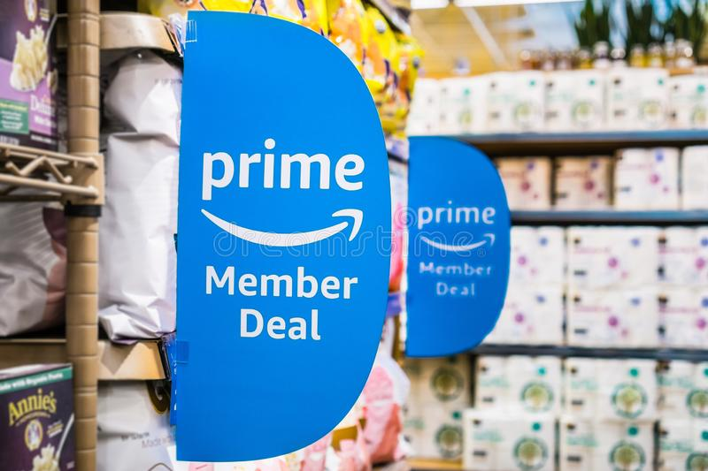 Amazon Prime Member Deal sign. September 6, 2018 Los Altos / CA / USA - Amazon Prime Member Deal sign displayed inside a Whole Foods store in south San Francisco stock photos