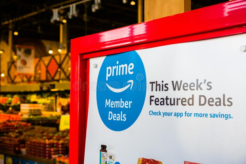 Amazon Prime Members Deals displayed in a Whole Foods store stock photos