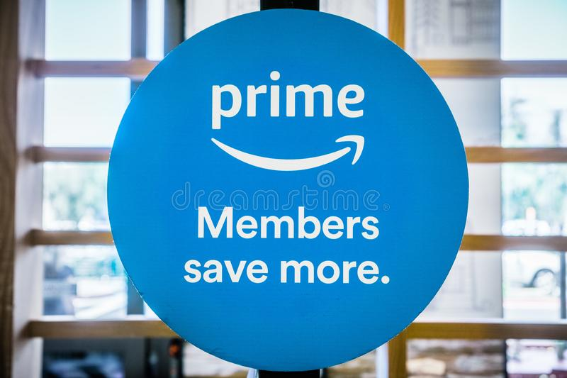 Amazon Prime Members save more sign royalty free stock photos