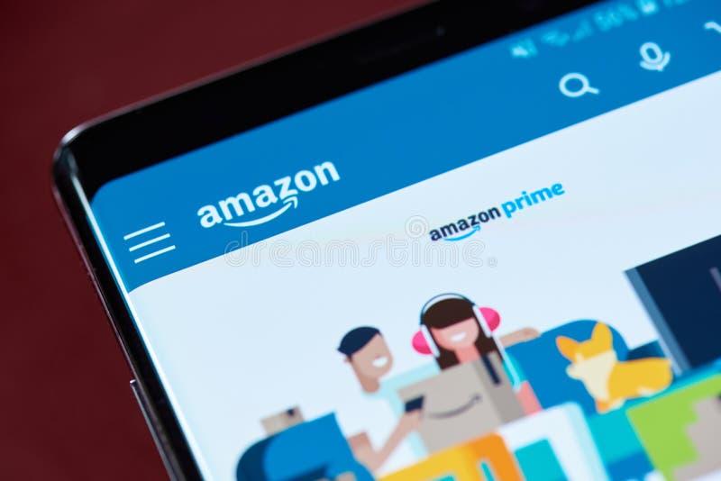 Amazon prime service. New york, USA - November 1, 2018: Amazon prime service menu on smartphone screen close up view royalty free stock photography