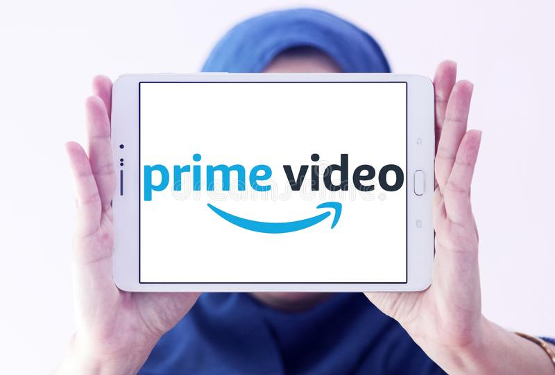 Amazon prime Video logo. Logo of Amazon prime Video on samsung tablet holded by arab muslim woman. Amazon Video is an Internet video on demand service that is stock photography