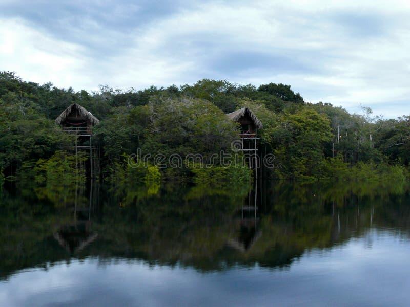 Amazon river. Wooden bungalows, Amazon river, Brazil royalty free stock photo