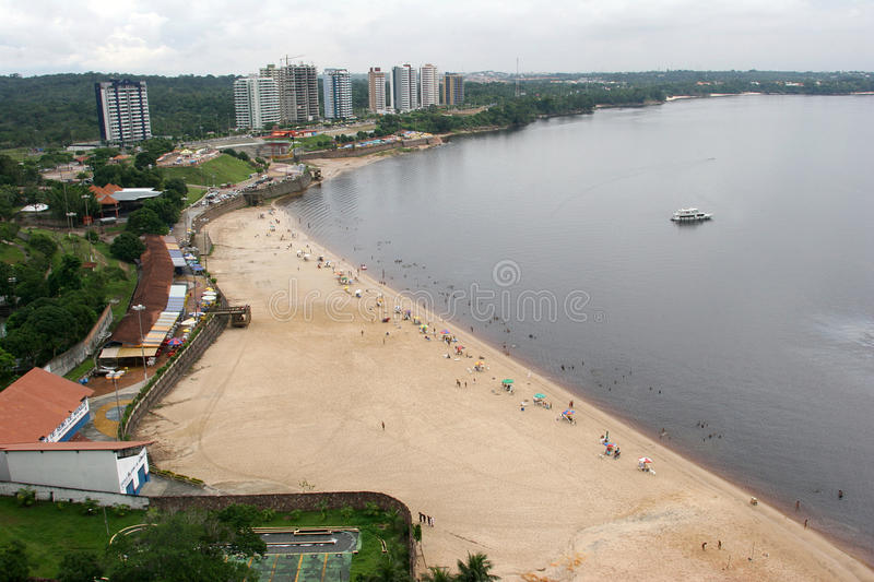 Amazon river, manaus brazil. Beach on amazon river in manaus, brazil royalty free stock photography