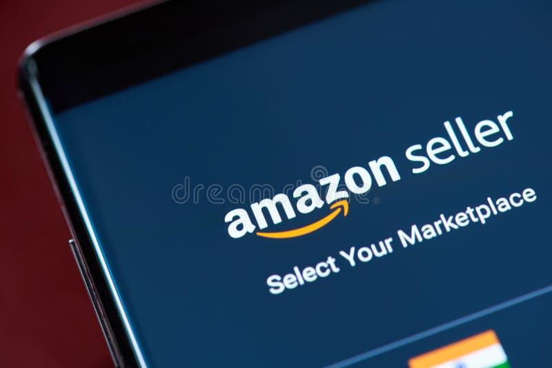 Amazon seller app menu. New york, USA - November 1, 2018: Amazon seller app menu on smartphone screen close up view stock images