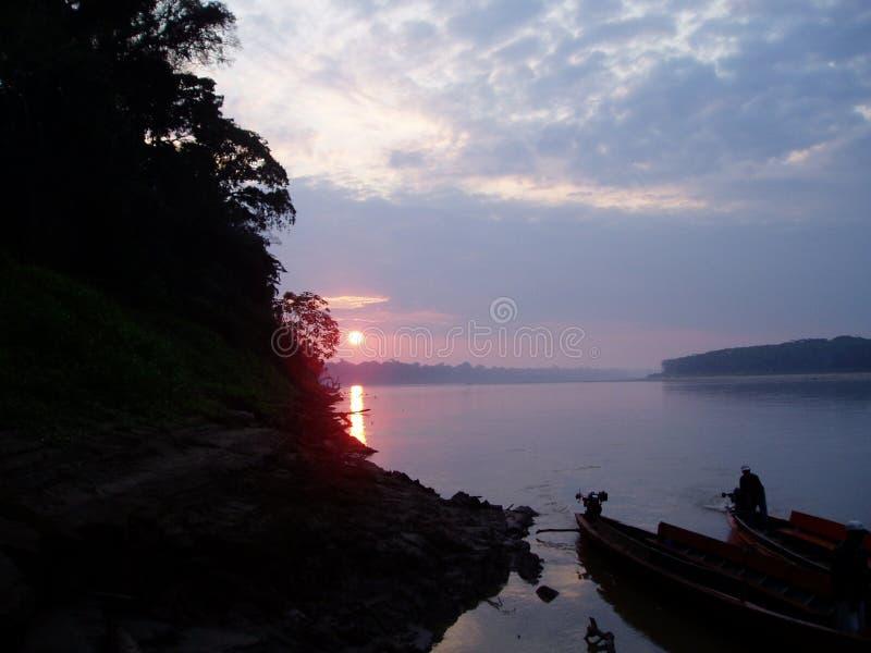 amazon solnedgång arkivbilder