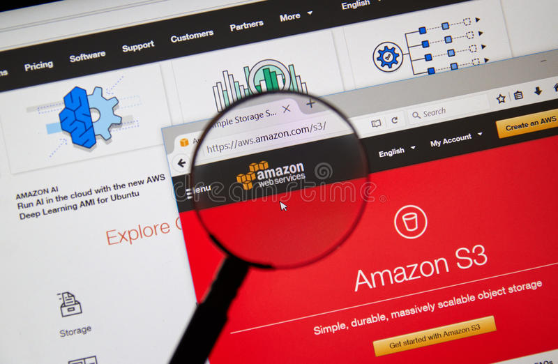 Amazon Web Services homepage royalty free stock photo