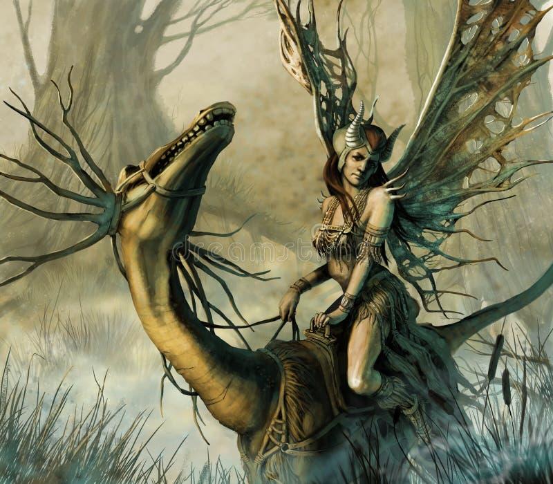 Amazona no dragão ilustração do vetor