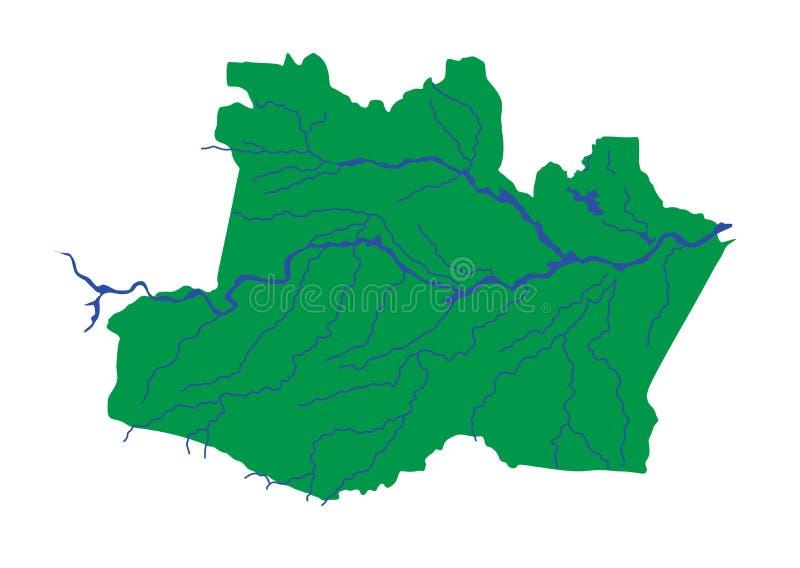 Amazonas Brasilien, vektoröversiktskontur Amasonöversikt med floden vektor illustrationer