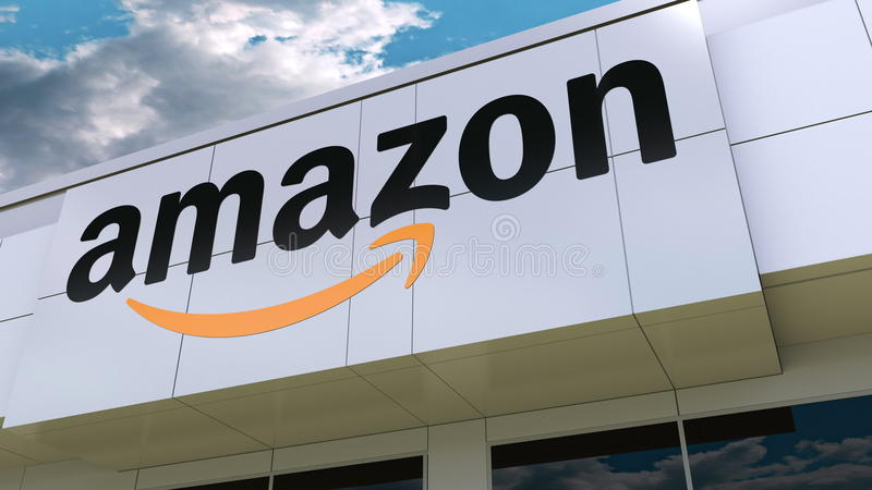 amazonas COM-Logo auf der modernen Gebäudefassade Redaktionelle Wiedergabe 3D stock abbildung