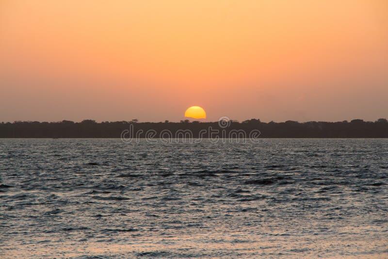 Amazonas-Sonnenuntergang lizenzfreie stockbilder