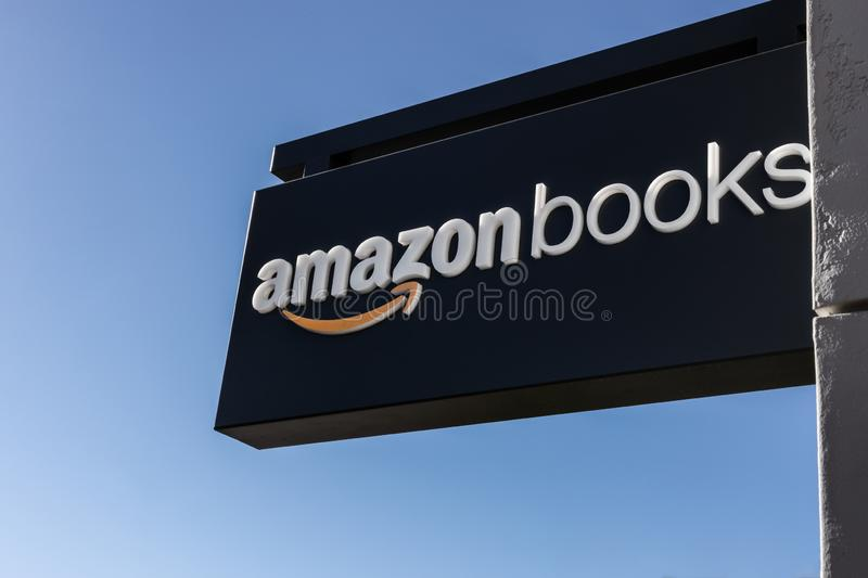 Amazonbooks Signage against a blue sky. MARINA DEL REY, CA - FEBRUARY 9, 2019: Amazonbooks signage in front of the new store royalty free stock photography