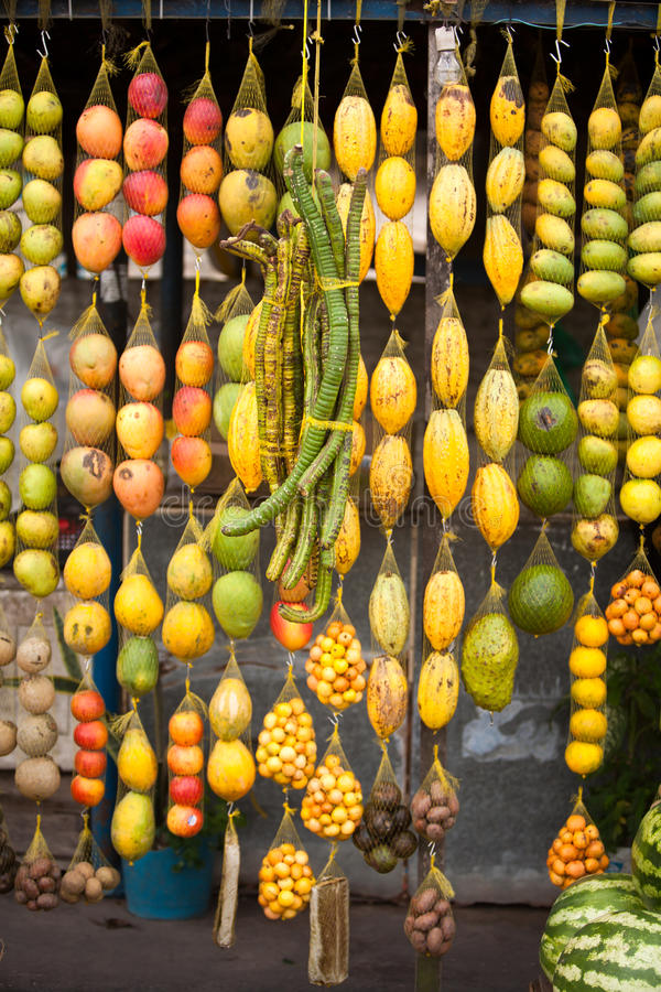 Amazonic traditional fruits. On road shop royalty free stock photos