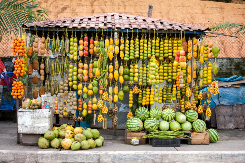 Amazonic traditional fruits. On road shop royalty free stock image