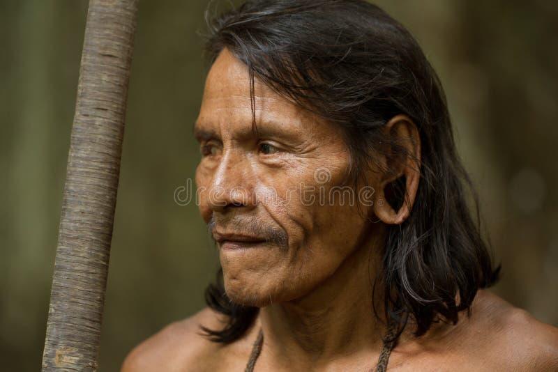 Amazonischer einheimischer Waorani-Jäger stockfotos