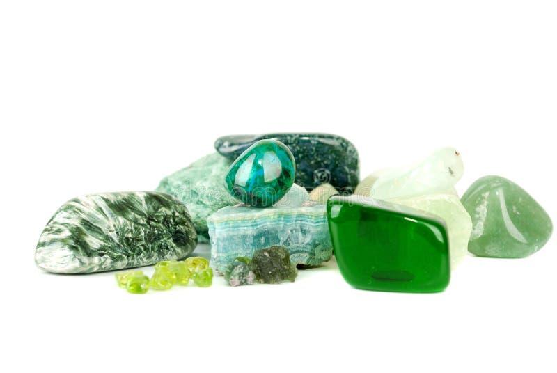 Amazonite et ramassage de gemme. photos stock
