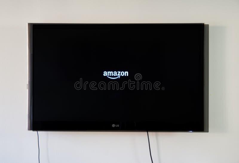 Amazonka logo na LG TV fotografia royalty free