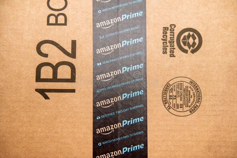 Amazonka Pierwszorzędny logotyp drukujący na karton ochronie scotch t obrazy stock