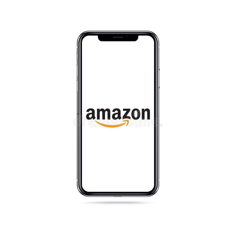 Amazonki app ikony logo na iphone ekranie royalty ilustracja