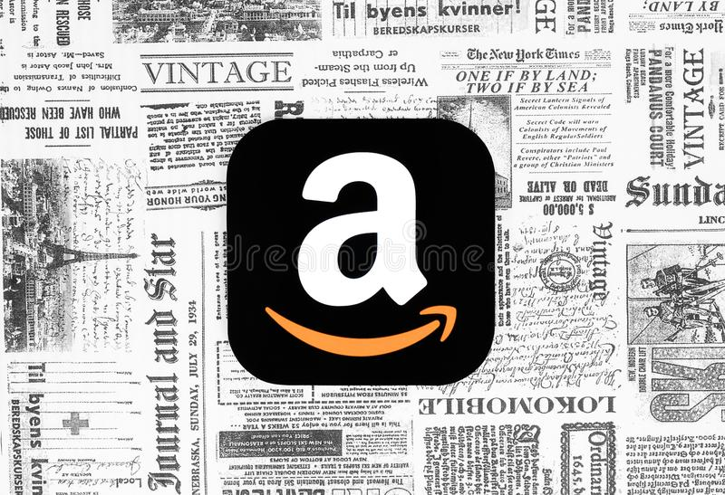 Amazonki ikona na retro gazetowym tle ilustracja wektor
