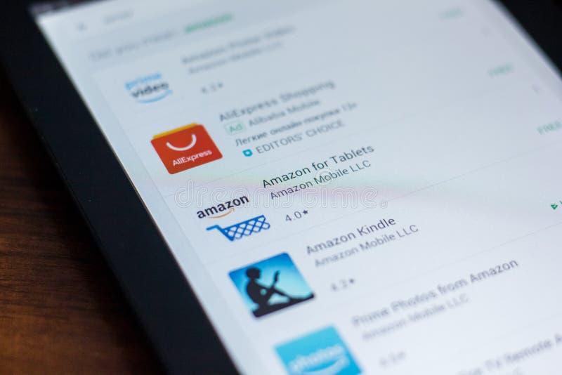 Amazonki ikona w liście mobilni apps Ryazan Rosja, Marzec - 21, 2018 - obraz stock