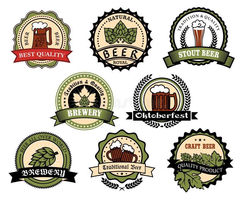 Ambachtbier, aal, de reeks van het de drankenetiket van de lagerbieralcohol vector illustratie