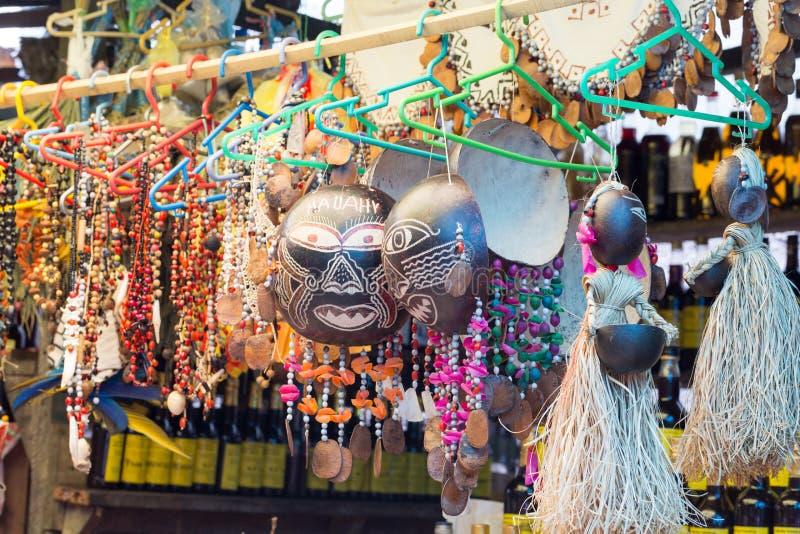 Ambachten uit de Amazone in Belen Market, Iquitos, Peru royalty-vrije stock foto