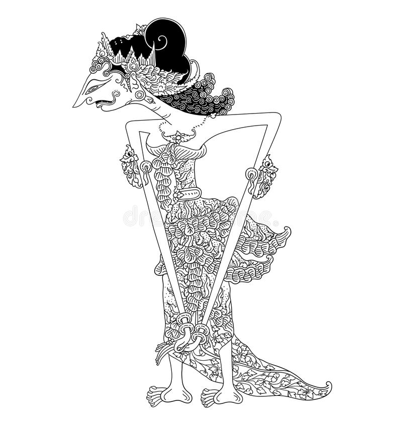 Ambalika-Charakter des traditionellen Puppenspiels vektor abbildung