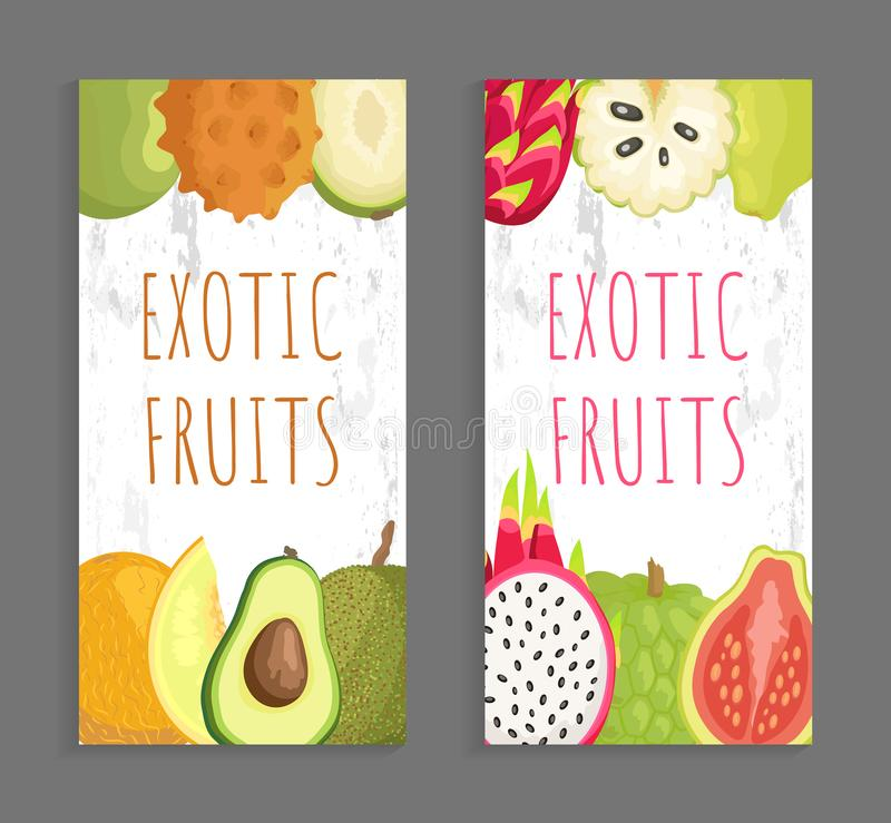 Ambarella Kiwano, Papaya πεπόνι, αβοκάντο Jackfruit απεικόνιση αποθεμάτων