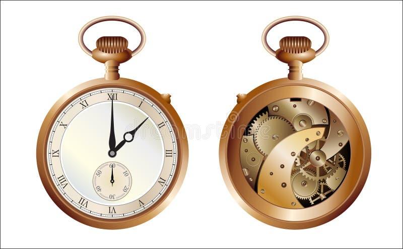 Ambas caras del reloj viejo stock de ilustración