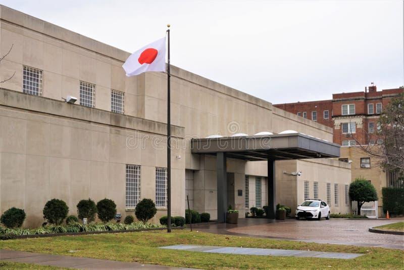 Ambasciata del Giappone e della bandiera in Washington DC immagine stock