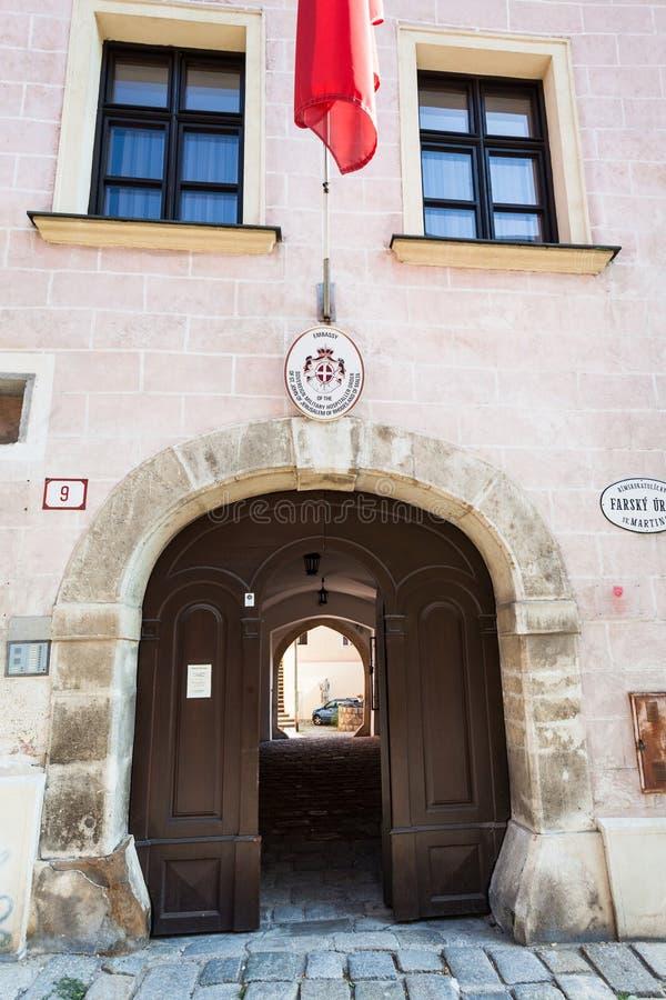 Ambassade van de Hospitaller-Orde in Bratislava royalty-vrije stock foto