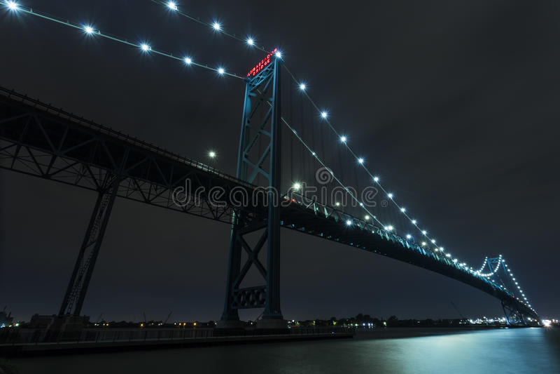 Ambassador Bridge. Connecting Windsor, Ontario to Detroit Michigan at night royalty free stock images